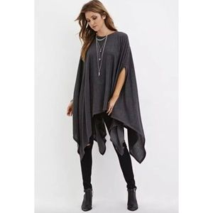 Fuzzy Knit Poncho Forever 21 soft gray pullover